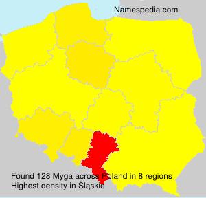 Surname Myga in Poland