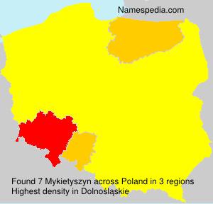 Surname Mykietyszyn in Poland