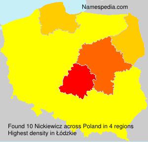 Surname Nickiewicz in Poland