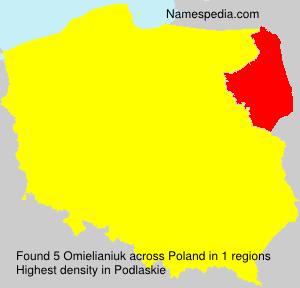 Surname Omielianiuk in Poland