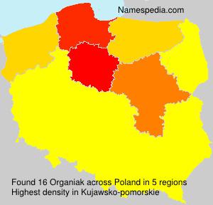 Surname Organiak in Poland