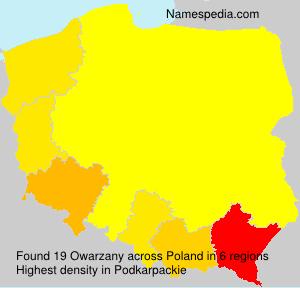 Familiennamen Owarzany - Poland