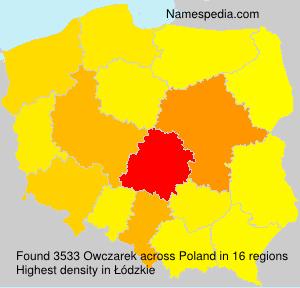 Surname Owczarek in Poland