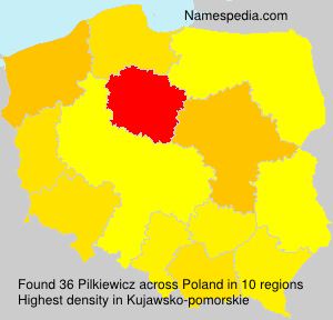 Surname Pilkiewicz in Poland
