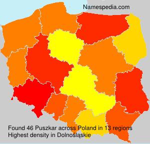 Familiennamen Puszkar - Poland