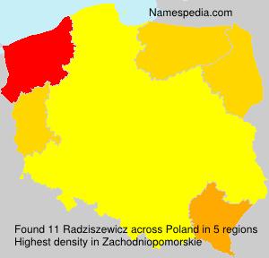 Surname Radziszewicz in Poland