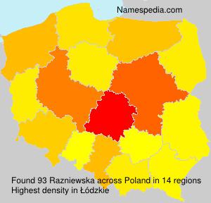 Familiennamen Razniewska - Poland