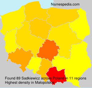 Surname Sadkiewicz in Poland