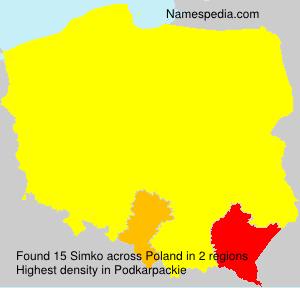 Familiennamen Simko - Poland