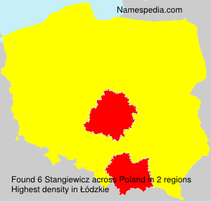 Surname Stangiewicz in Poland