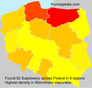 Surname Subotowicz in Poland