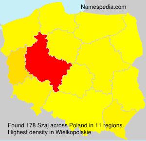 Surname Szaj in Poland