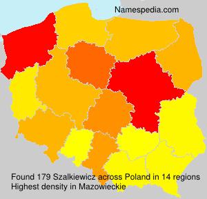 Surname Szalkiewicz in Poland