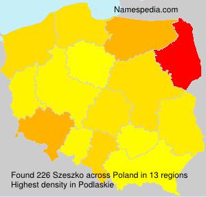 Surname Szeszko in Poland