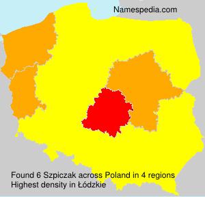 Familiennamen Szpiczak - Poland