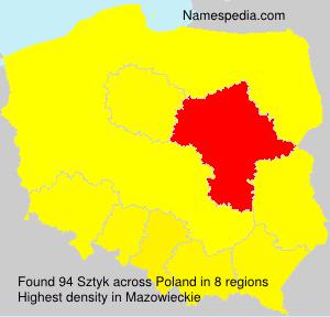 Surname Sztyk in Poland
