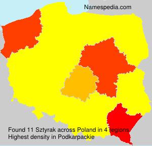 Surname Sztyrak in Poland
