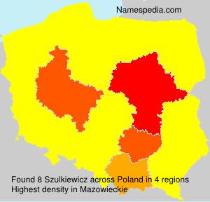 Surname Szulkiewicz in Poland
