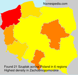 Surname Szuplak in Poland