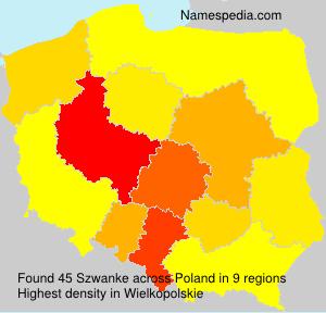 Familiennamen Szwanke - Poland