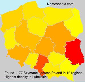 Surname Szymanek in Poland