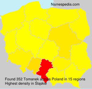 Surname Tomanek in Poland