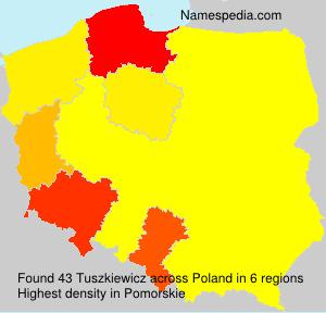 Surname Tuszkiewicz in Poland