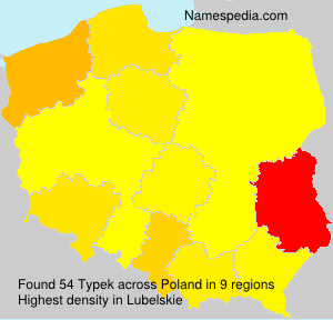 Surname Typek in Poland