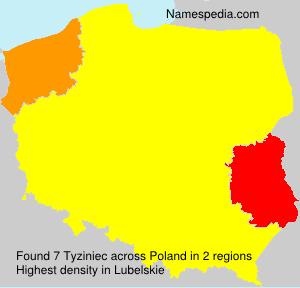Surname Tyziniec in Poland