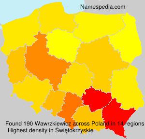 Surname Wawrzkiewicz in Poland