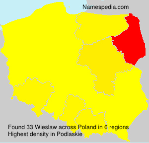 Surname Wieslaw in Poland
