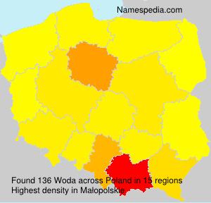 Surname Woda in Poland
