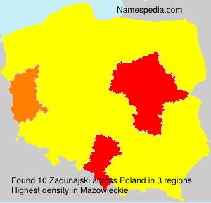 Surname Zadunajski in Poland