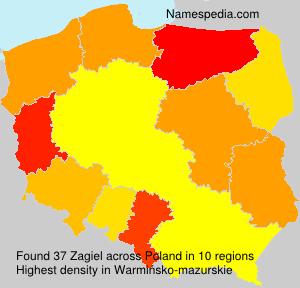 Familiennamen Zagiel - Poland