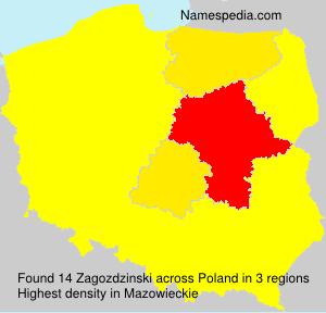 Surname Zagozdzinski in Poland
