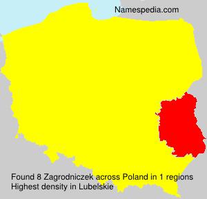 Surname Zagrodniczek in Poland