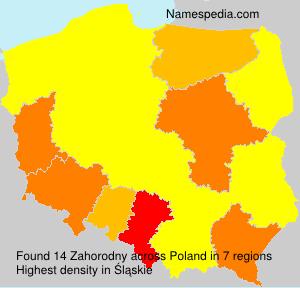 Surname Zahorodny in Poland