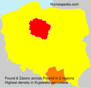 Surname Zaionc in Poland