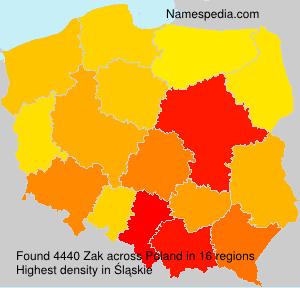 Surname Zak in Poland