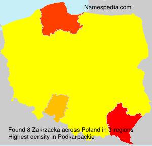 Familiennamen Zakrzacka - Poland