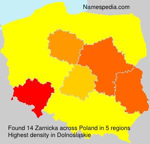 Surname Zarnicka in Poland