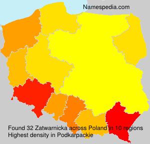 Surname Zatwarnicka in Poland