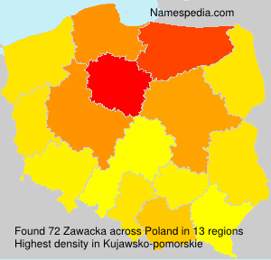 Surname Zawacka in Poland