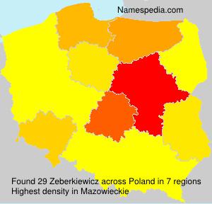 Surname Zeberkiewicz in Poland