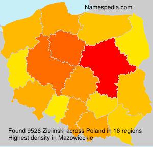 Surname Zielinski in Poland