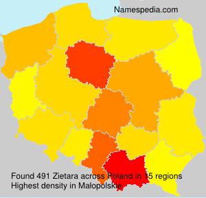 Surname Zietara in Poland