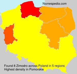 Surname Zimodro in Poland
