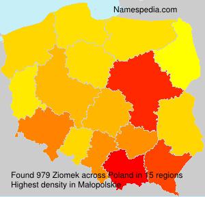 Surname Ziomek in Poland