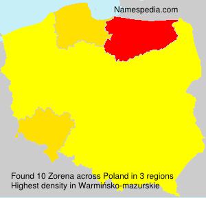 Surname Zorena in Poland