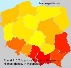 Surname Zub in Poland